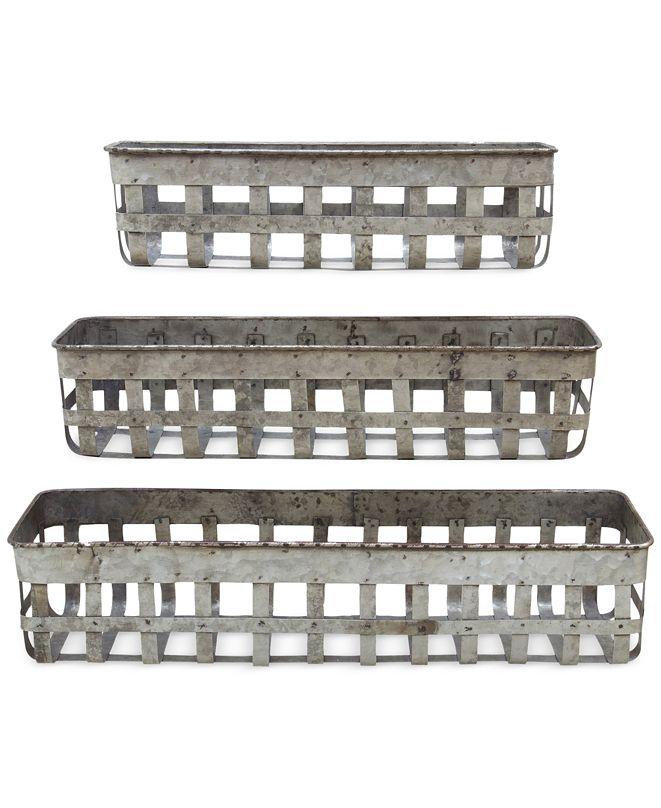3R Studio Open-Weave Iron Baskets, Set of 3
