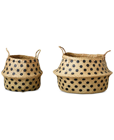Round Dotted Wicker Collapsible Baskets, Set of 2