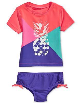 Oshkosh B'Gosh 2-Pc. Pineapple Colorblocked Rashguard Swim Set, Toddler & Little Girls (2T-6X)