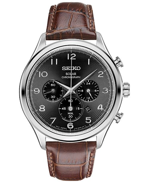 ... Seiko Men s Chronograph Solar Classic Brown Leather Strap Watch 42mm  SSC565 ... b74ed2eb073a