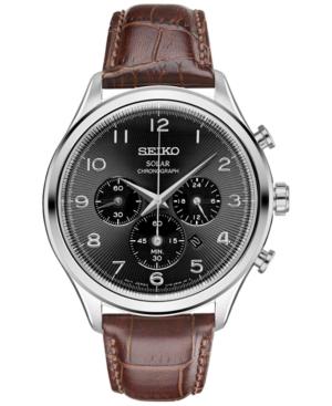 Seiko Men's Chronograph Solar Classic Brown Leather Strap Wa