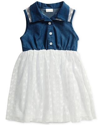 Sweet Heart Rose Denim and Lace Shirt Dress, Little Girls (2-6X)
