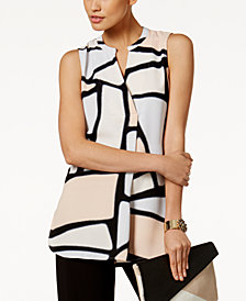 Alfani Printed Draped Top, Created for Macy's