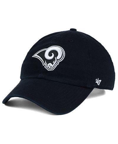 '47 Brand Los Angeles Rams Black and White CLEAN UP Cap