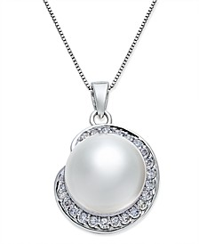 Cultured South Sea Pearl (11mm) and Diamond (1/3 ct. t.w.) Pendant Necklace in 14k White Gold