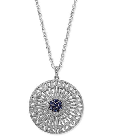 Sapphire (1/2 ct. t.w.) and Diamond (1/7 ct. t.w.) Openwork Disc Pendant Necklace in Sterling Silver