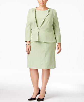 Kasper Plus Size Peplum Blazer & Sheath Dress