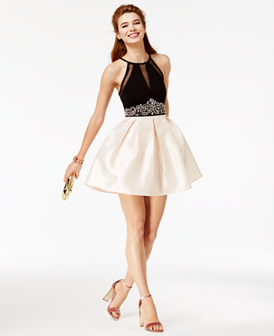 Teeze Me Juniors' Embellished Halter Fit & Flare Dress, Created for Macy's