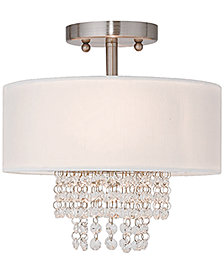 "Livex Carlisle 11"" Crystal Semi-Flush Mount"