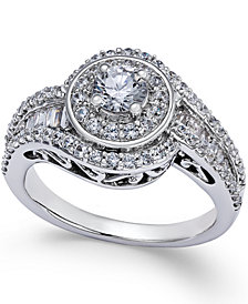 Diamond Swirl Engagement Ring (1-1/4 ct. t.w.) in 14k White Gold