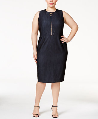 Calvin Klein Plus Size Zip Front Sheath Dress Dresses