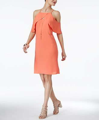 Thalia Sodi Flutter-Sleeve Necklace Dress, Only at Macy's