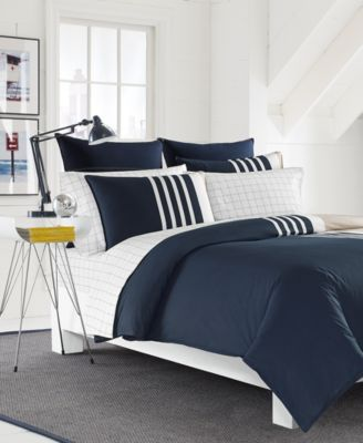 CLOSEOUT! Aport Cotton Colorblocked Twin Duvet Set