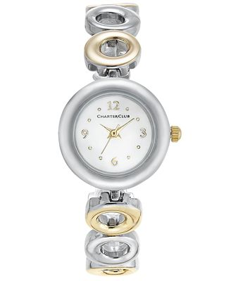 Charter Club Women's Two-Tone Bracelet Watch 23mm, Only at Macy's