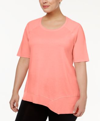Calvin Klein Performance Plus Size Asymmetrical-Hem Top