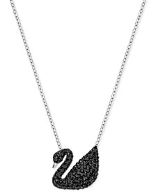 Two-Tone Black Pavé Iconic Swan Pendant Necklace