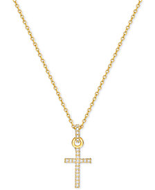 Swarovski Gold-Tone Pavé Crystal Mini Cross Necklace