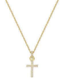 Gold cross pendant shop gold cross pendant macys swarovski gold tone pav crystal mini cross necklace aloadofball Images
