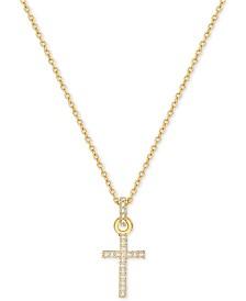 Gold cross necklace shop gold cross necklace macys swarovski gold tone pav crystal mini cross necklace aloadofball Images