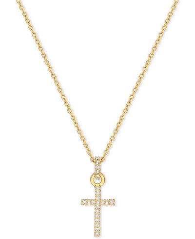 Swarovski Gold-Tone Pav� Crystal Cross Necklace