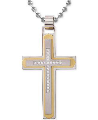 Fine Jewelry Mens 1/10 CT. T.W. Diamond Cross Pendant Necklace