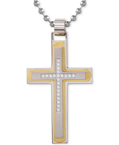Mens diamond cross pendant necklace 110 ct tw in stainless mens diamond cross pendant necklace 110 ct tw in stainless steel aloadofball Image collections