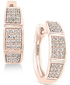 Pavé Rose by EFFY® Diamond Hoop Earrings (1/4 ct. t.w.) in 14k Rose Gold