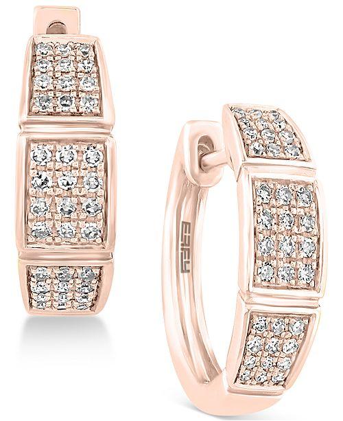 EFFY Collection Pavé Rose by EFFY® Diamond Hoop Earrings (1/4 ct. t.w.) in 14k Rose Gold