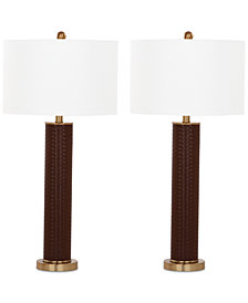 Safavieh Set of 2 Ollie Faux Woven Leather Table Lamps