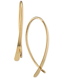 Lauren Ralph Lauren Silver-Tone Sculptural Threader Hoop Earrings