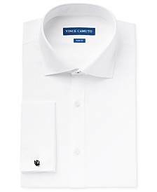 Vince Camuto Men's Slim-Fit Comfort Stretch Sateen French Cuff Dress Shirt