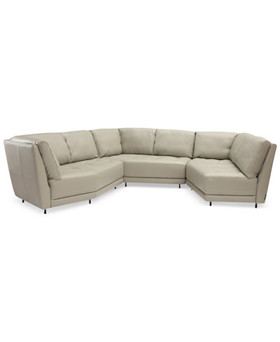 CLOSEOUT! Belice 3-Pc. Leather Modular Sofa with 3 Apartment Sofas ...