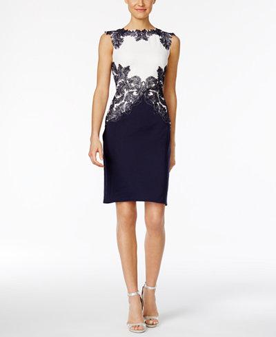 Tadashi Shoji Lace-Trim Scuba Dress - Dresses - Women - Macy\'s