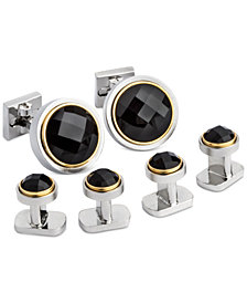 Ike Behar Men's Onyx Cuff Links & Studs Set