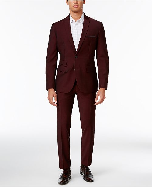 INC International Concepts I.N.C. Men's Burgundy Slim Fit Suit, Created for Macy's