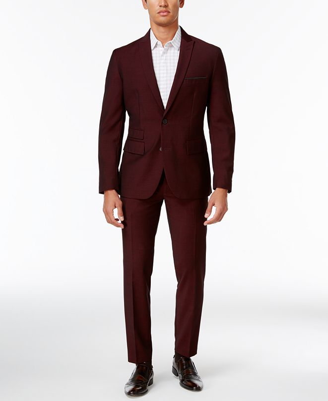 INC International Concepts INC Men's Burgundy Slim Fit Suit, Created for Macy's