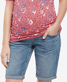 Motherhood Maternity Cuffed Bermuda Denim Shorts