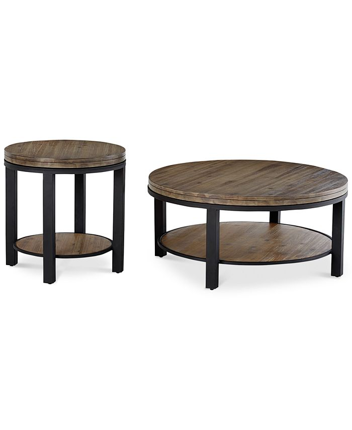 Furniture - Canyon Round Table Set, 2-Pc. Set (Coffee Table & End Table), Only at Macy's