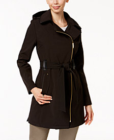 Via Spiga Hooded Asymmetric Zip Soft Shell Trench Coat