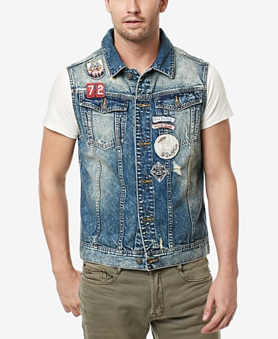 Buffalo David Bitton Men's Joey Embroidered-Patch Denim Cotton Vest