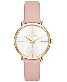 Michael Kors Women's Portia Pink Leather Strap Watch 36mm MK2659