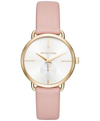 Michael Kors Women's Portia Pink Leather Strap Watch 36mm MK2659
