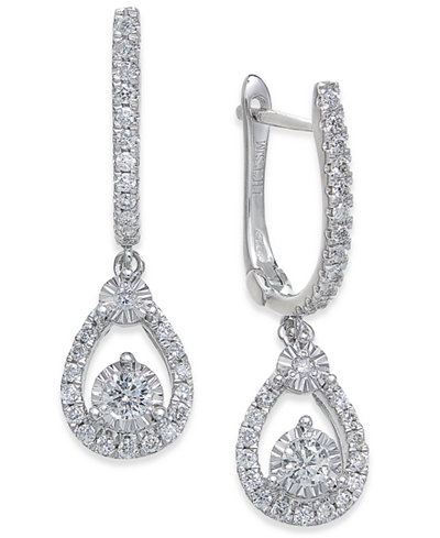 Diamond Drop Earrings (3/8 ct. t.w.) in 14k White Gold