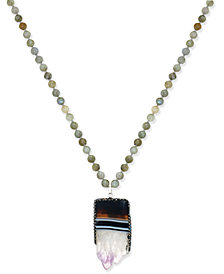Paul & Pitü Naturally Silver-Tone Long Semi-Precious Pendant Necklace