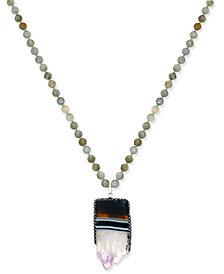 Paul & Pitü Naturally Silver-Tone Long Semi-Precious Pendant Necklace