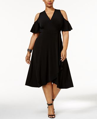 Soprano Trendy Plus Size Off-The-Shoulder Midi Dress