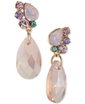 Carolee  GOLD-TONE STONE AND CRYSTAL DROP EARRINGS