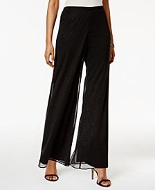 Petite Mesh Sparkle Wide-Leg Pants
