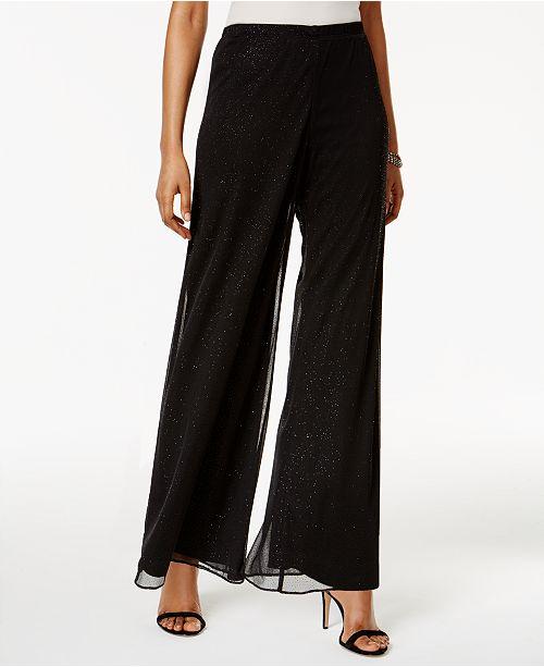 4834da098ac MSK Petite Mesh Sparkle Wide-Leg Pants   Reviews - Dresses - Petites ...