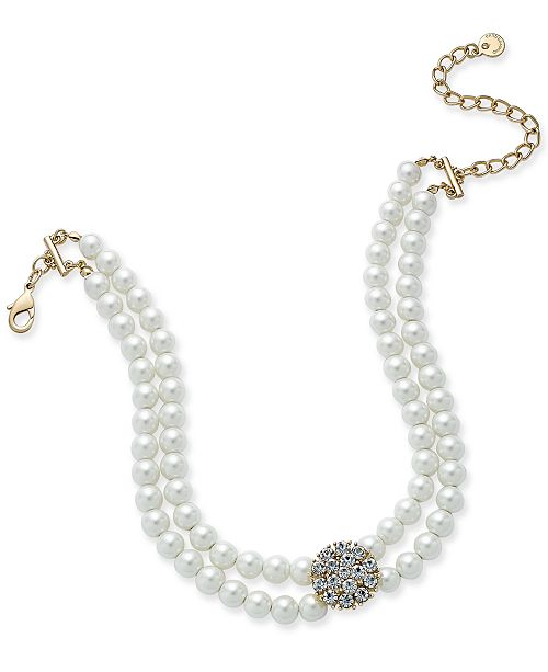 Charter Club Gold-Tone Imitation Pearl and Pavé Double Strand Choker Necklace, Created for Macy's